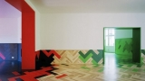 Colored parquet flooring