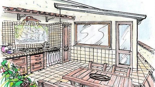 Outdoor built-in kitchen