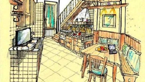 Kitchen in masonry and wood
