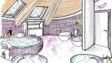 Bathroom in the attic: a circular sketch