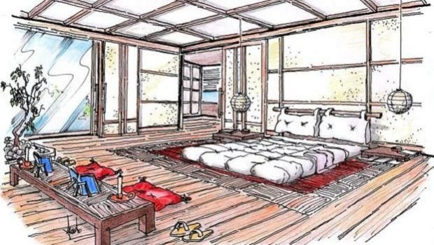 Bedroom in oriental style: project idea