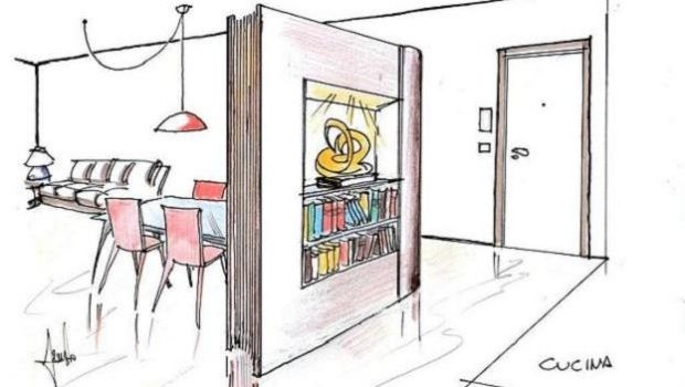 Book shaped partition wall: project idea