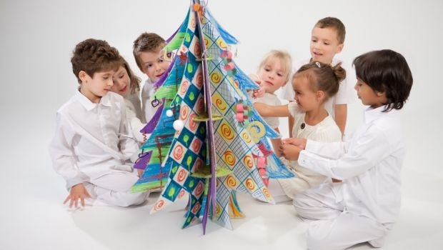 Christmas tree made of recycled cardboard