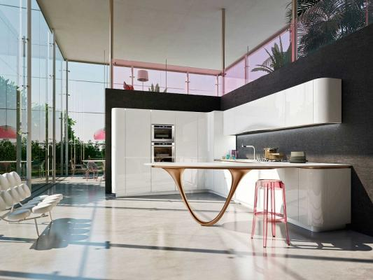 Snaidero-peninsula-in-the-kitchen-ola-25-with-bronze-lacquered-support