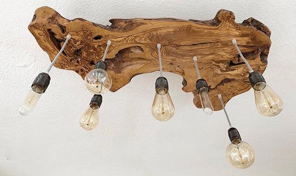 Lampadario in legno di olivo di Wanos