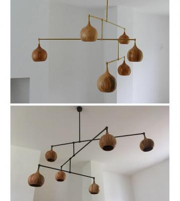 Pendant-lamps-in-wood-dome-chandelier-by-tamasine-osher