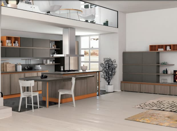 Colors that match with orange, Creo Kitchens kitchen