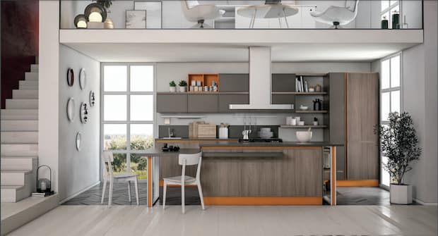 Colors that go well with orange, Creo Kitchens kitchen