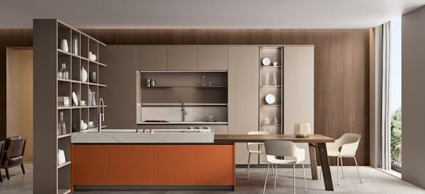 Orange kitchen, Veneta cucine solutions