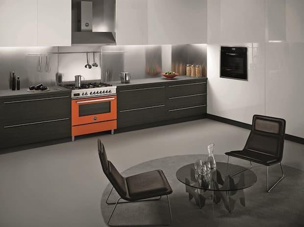 Orange freestanding kitchen, Bertazzoni model