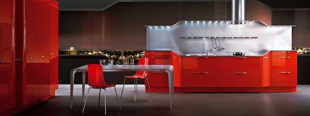 Orange kitchen solution, Venus model by Snaidero